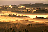 Bavarian hills and woodland in the dusk, Upper Bavaria, Germany