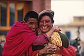 Tibetische Moenche Qinghai See, Tibet