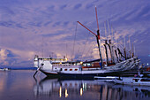 Ships in Paotere Harbour in the evening light, Ujung Pandang, Makassar, Sulawesi, Sunda Islands, Malay Archipelago, Indonesia