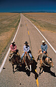 High angle view of cowboys on horseback on a country road, Santa Fe Trail, New Mexico, USA, America