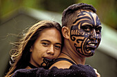 Painted Moko on Maori couple, Waitangi, New Zealand
