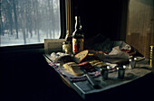 Breakfast inside Transsiberian railroad, Russia, Europe