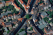 Aerial view of Lichtenberg Square, Hanover, Lower Saxony, Germany