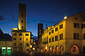 Deserted market place at night, Alba, Piemont, Italy