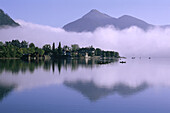 Foggy lake with mountain in background, Walchensee with Jochberg, Upper Bavaria, Germany