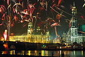 Fireworks on New Year's eve, Dresden, Germany