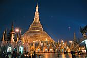 Shwedagon pagoda at night, Yangon, Rangoon, Myanmar, Burma, Asia