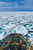 Ice breaker surrounded by ice, Nunavut, Canada, North America, America