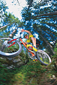 Jumping mountainbiker