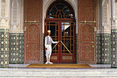 Entrance of Hotel Mamounia with porter, Marrakech, Morocco, Africa