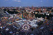 Aerial view of the Wies'n, Oktoberfest, Munich Octoberfest, Munich, Bavaria, Germany