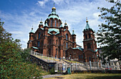 Uspenski cathedral under clouded sky, Helsinki, Finland, Europe