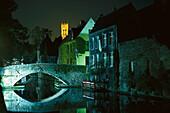 Bridge over gracht at night, Groene Rei, Bruges, West Flanders, Belgium, Europe
