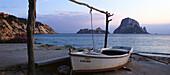 Fishing boat in a quiet bay, Cala de Hort, Ibiza, Balearic Islands, Spain