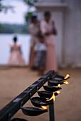 View at oil lamps, Sri Lanka, Asia