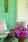Flowers on veranda, Balembouche, old plantation, today accommodation, St. Lucia, Caribbean