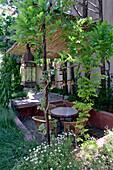 Garden and idyllic terrace of the restaurant Une autre Maison Nyon, Drome, France, Europe