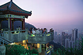 People standing at view point on mountain Victoria Peak, Hongkong, China