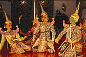 Dancers in traditional costumes, Oriental Hotel, Bangkok, Thailand, Asia