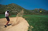Man playing golf, Golf club Capdepera, Majorca, Balearic Islands, Spain, Europe