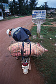 Man transporting a pig on a moped, Vietnam, Asia