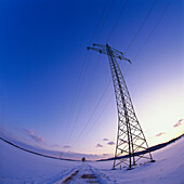Strommast, Winterlandschaft