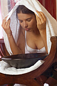 Woman, Steam Bath, Beauty