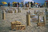 Strand Rio, Vorbereitung Feuerwerk Brasilien