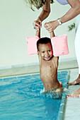 Boy in water, people boy swimming