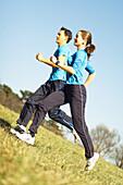 Running couple, people sport