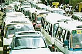 Cars in traffic jam, transport car
