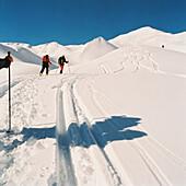 Skitouring, St. Antoenien, Graubuenden, Switzerland