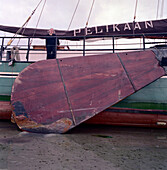 Pelikaan, Flat bottom wooden Sailboat, Ameland, Wadden Sea Netherland