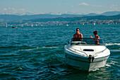 Motorboat, Lake Zurich, Zuerich, Switzerland, Europe