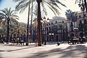 People sitting on benches in the sunlight, Placa Real, Barcelona, Spain