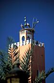 Stork nest on minaret, Marrakesh, Morocco, Africa
