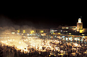 Jemaa El Fna, Djemaa el Fna market square at night, food stalls, Marrakesh, Morocco