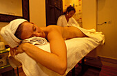 Woman is getting a massage, Hammam La Maison Arabe, Marrakesh, Morocco, Africa