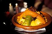 Couscous dish at Foundouk restaurant, Marrakesh, Morocco, Africa