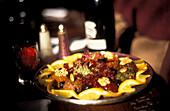 Dish at Foundouk restaurant, Marrakesh, Morocco, Africa