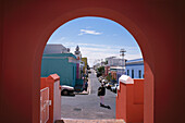 View through a gate at Malay Quarter, Bo-Kaap, Cape Town, South Africa, Africa