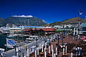 Victoria & Alfred Waterfront, view at harbour and mountains under blue sky, Cape Town, South Africa, Africa