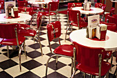 Chairs and tables at a cafe, Dinner' s, Twister Soda, Route 66, Arizona, USA, America