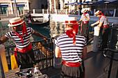 Gondoliers in front of the Venetian Resort Hotel, Las Vegas, Nevada, USA, America