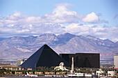View at the pyramid of the Luxor Hotel & Casino, Las Vegas, Nevada, USA, America
