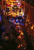View of bar and stage at night from above, Sturecompagniet, Stureplan, Stockholm, Sweden