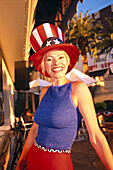 Laughing woman with top hat, Las Vegas, Nevada, USA, America