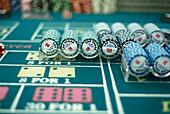 Old Vegas gambling chips, Las Vegas Nevada, USA