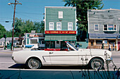 A cabriolet parking at the main street in the sunlight, New Hampshire, New England, USA