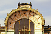 View at Otto Wagner Pavilion, square Karlsplatz, Vienna, Austria